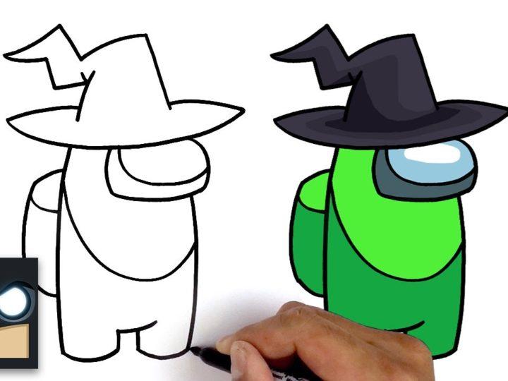 Hur man ritar Witch från videospelet Among Us