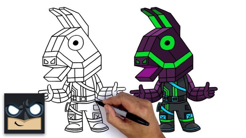 Cum să desenezi LLION | Varianta Fortnite NEON LLAMA
