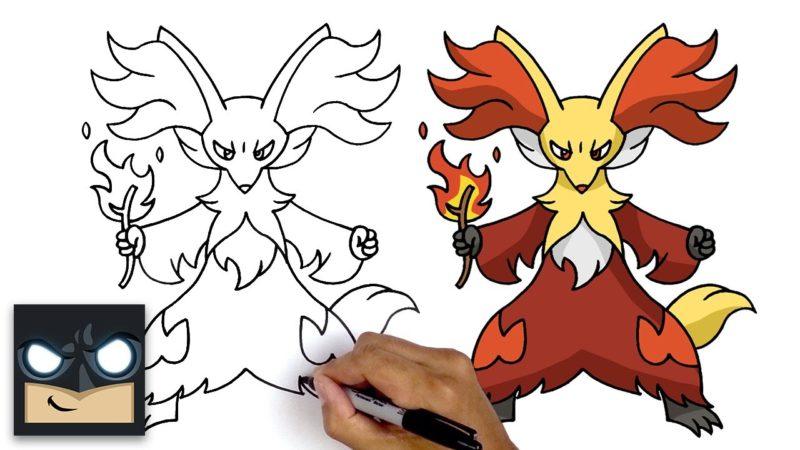 Jak narysować Pokemon Delphox