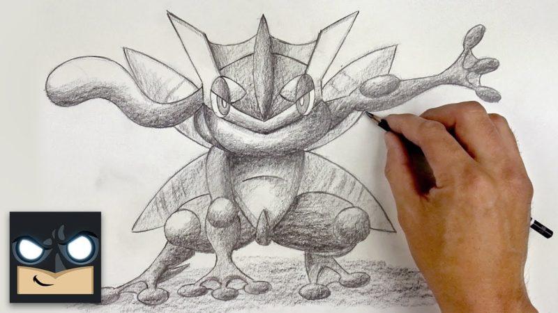 Jak narysować ołówkiem Ash Greninja of Pokémon