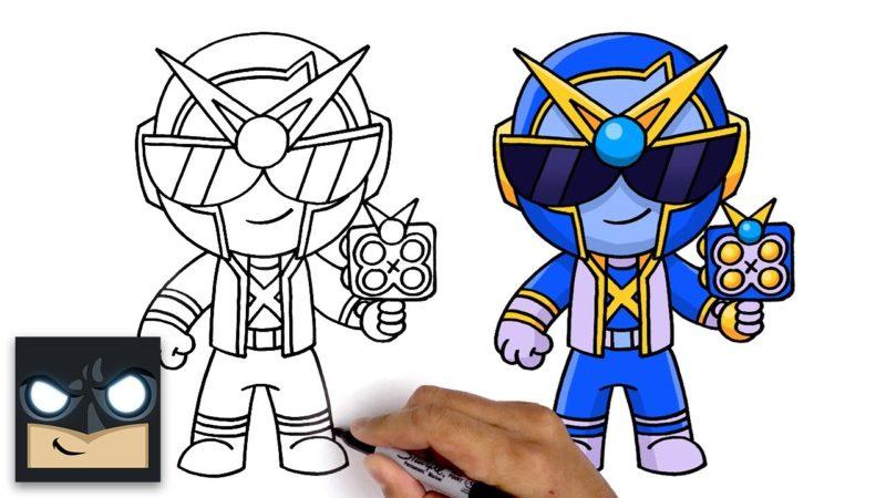 Cómo dibujar a Super Ranger Brock de Brawl Stars