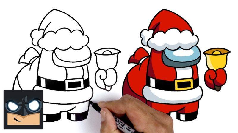 Jak narysować kolegę z drużyny Świętego Mikołaja z Among Us