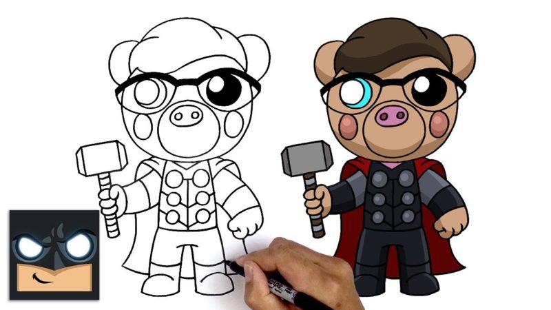 Come disegnare Thor Pony | Roblox Piggy