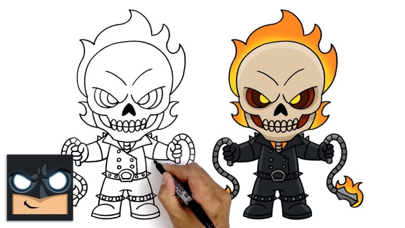 Cómo dibujar Marvel Ghostrider para Fortnite