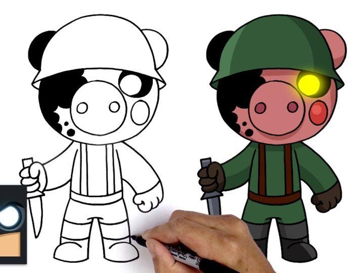 Hur man drar en soldat från videospelet Roblox Piggy