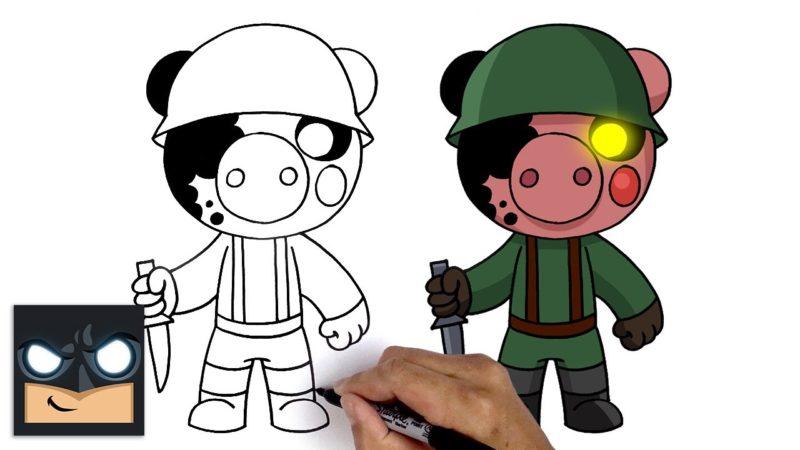 Come disegnare un soldato del videogioco Roblox Piggy