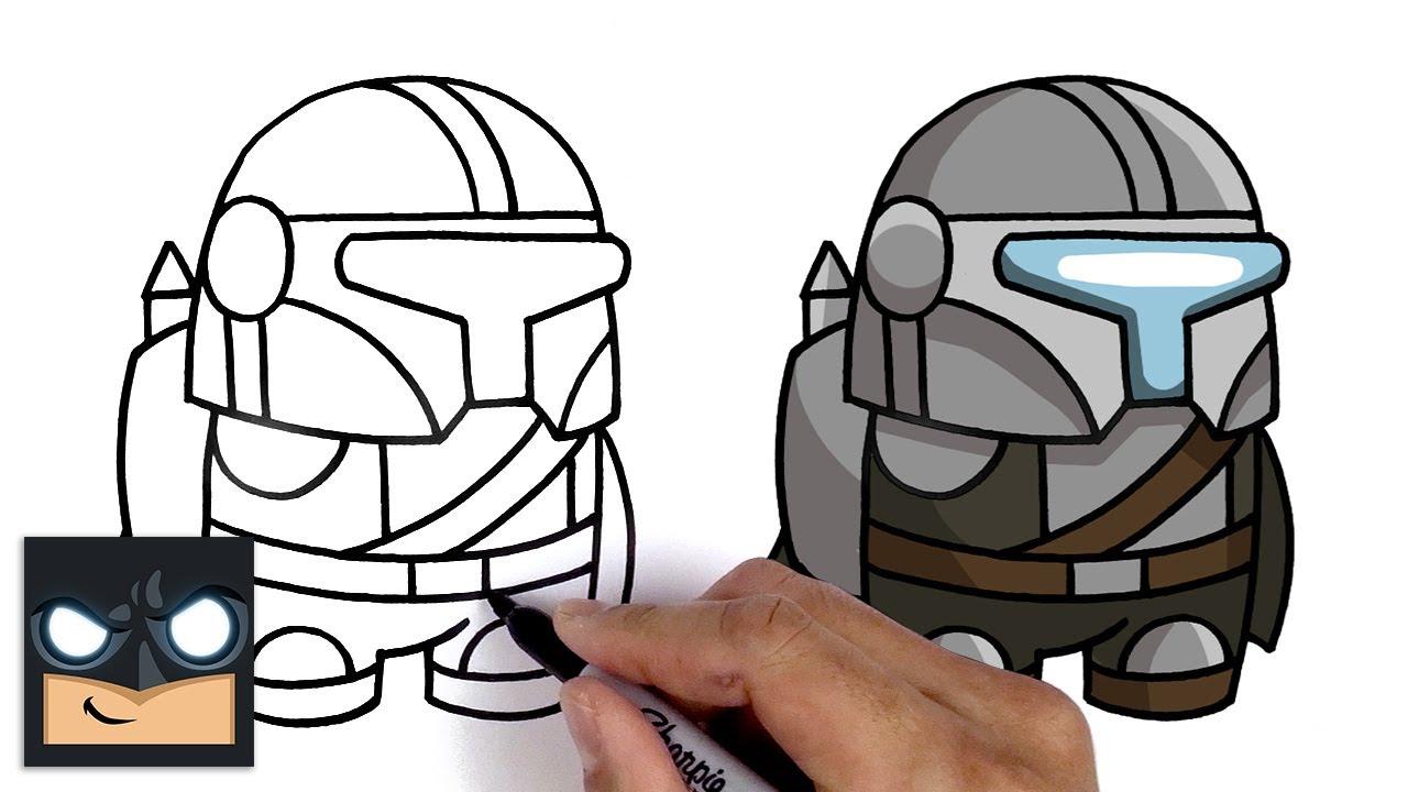 Come disegnare un compagno di squadra mandaloriano di Among us