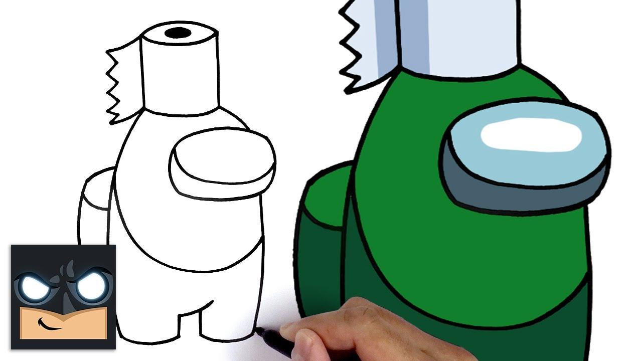 Come disegnare un compagno di squadra di carta igienica di Among us