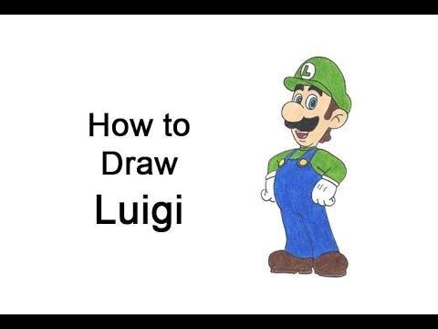 Cómo dibujar a Luigi (cuerpo completo) de Super Mario Bros