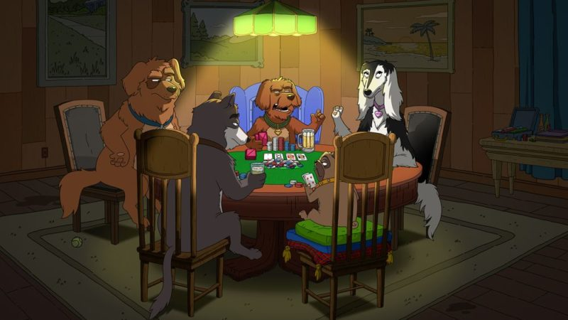 """Assista ao vídeo """"Dogs Playing Poker"""" de Denis Leary"""