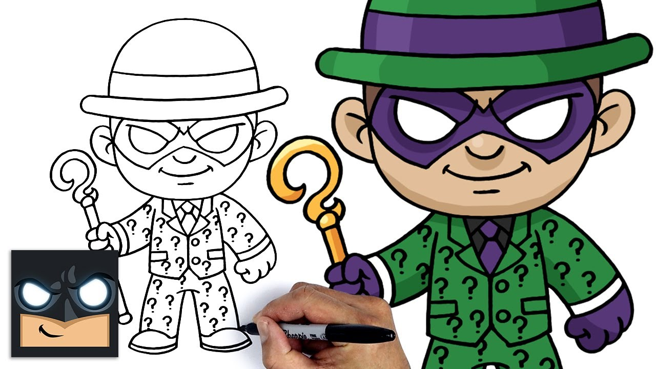 Come disegnare l'Enigmista il nemico di Batman