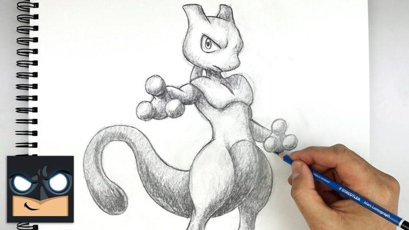 Jak narysować Mewtwo Pokemona ołówkiem