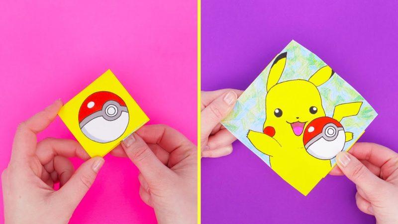 Hur man ritar och bygger origami pokemon