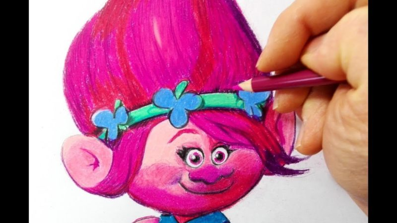 Cómo dibujar y colorear a Poppy de los Trolls