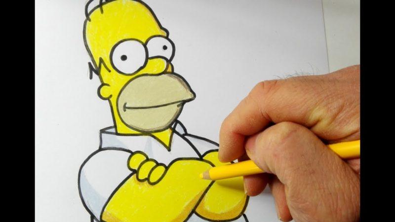 होमर सिम्पसन को कैसे आकर्षित करें और रंग दें