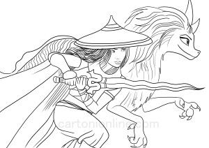 Disegni da colorare di Raya e l'ultimo drago