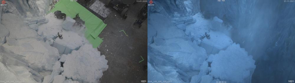 Ambiente del ghiacciaio. Un sacco di lavori di pittura opaca, estensioni del set, ma anche levigatura e alterazione della trama del set, per sembrare più come neve e ghiaccio dove necessario.