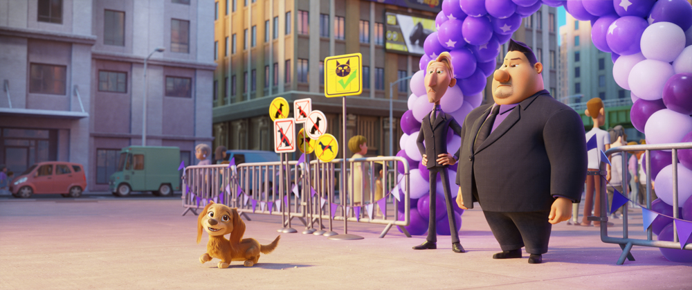 L-R: Liberty (Marsai Martin), Ruben (Dax Shepard) e Butch (Randall Park) in PAW Patrol: The Movie, da Paramount Pictures. [Courtesy of Spin Master]