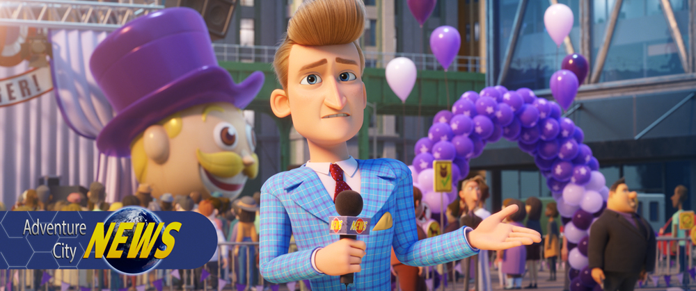 Marty Muckracker (Jimmy Kimmel) in PAW Patrol: The Movie, da Paramount Pictures. [Courtesy of Spin Master]