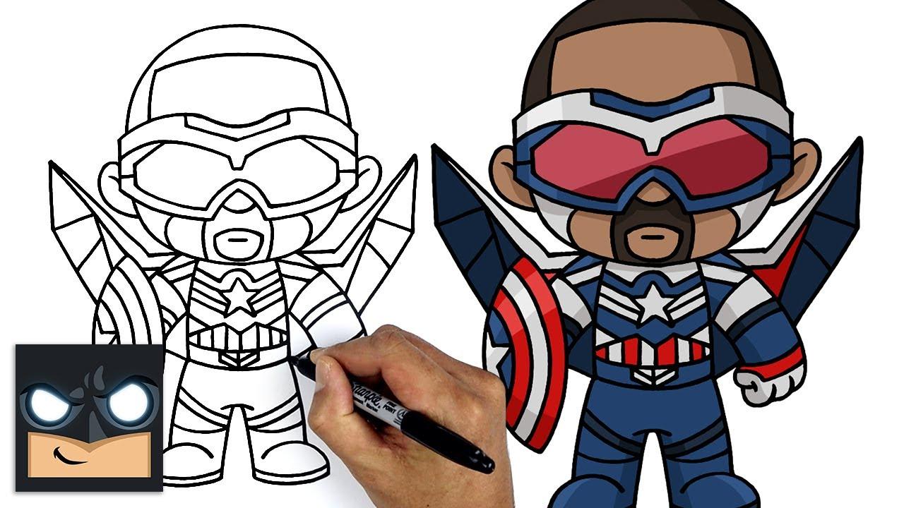 Come disegnare Falcon | Falcon and the Winter Soldier || Tutorial di disegno passo dopo passo