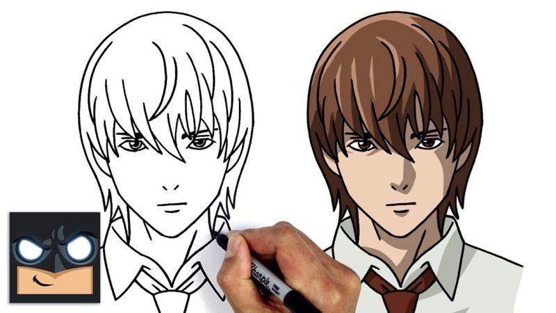 Come disegnare  Light Yagami | Death Note || Tutorial di disegno anime passo dopo passo