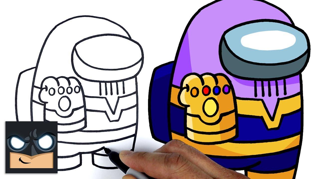 Come disegnare Among us   Thanos Imposter    Tutorial di disegno passo dopo passo