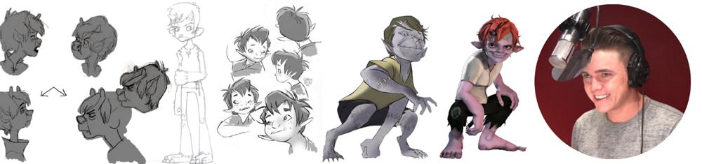 Disegni dei personaggi per Huxley, doppiato da Jesse McCartney (Arcana Studios)
