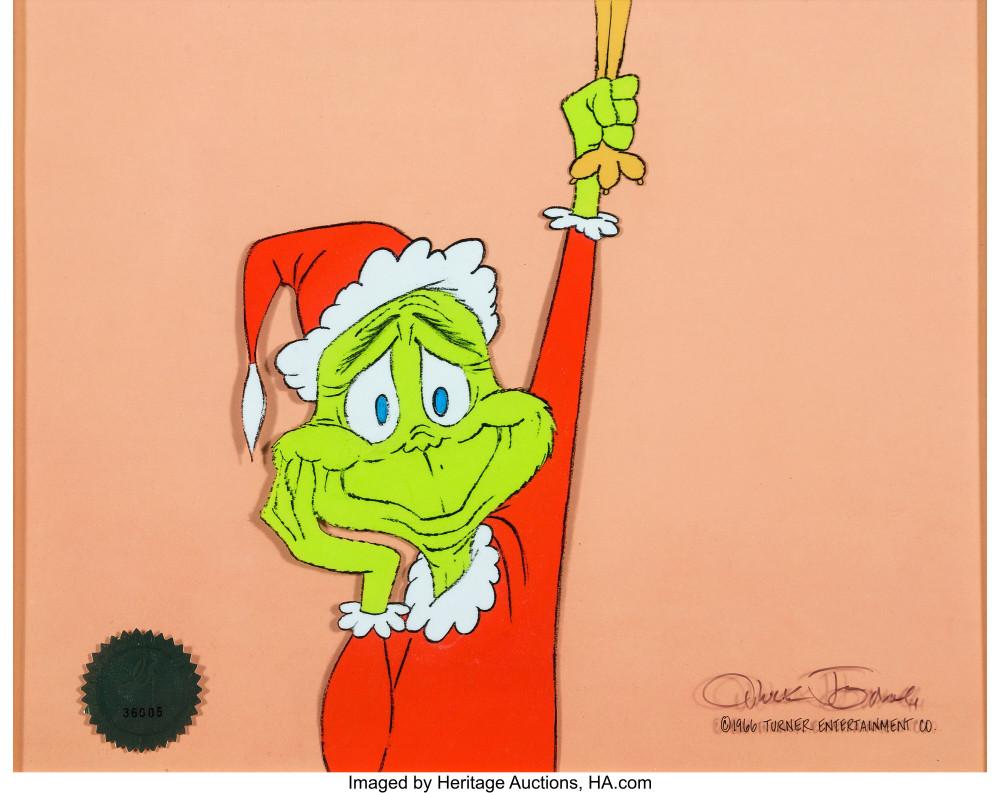 Come il Grinch ha rubato il Natale del Dr. Seuss Cel di produzione del Grinch dagli occhi blu autografato da Chuck Jones