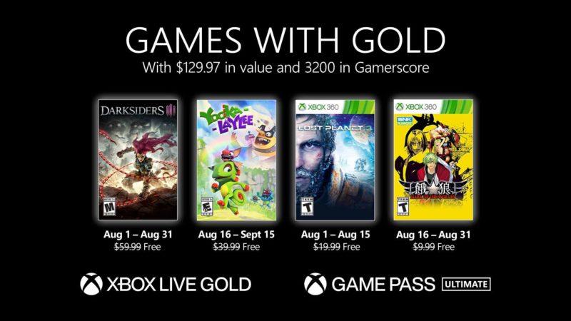 Nuovi Games with Gold per agosto 2021