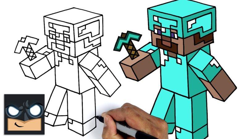 Come disegnare Minecraft | Steve Armatura Diamante Diamond
