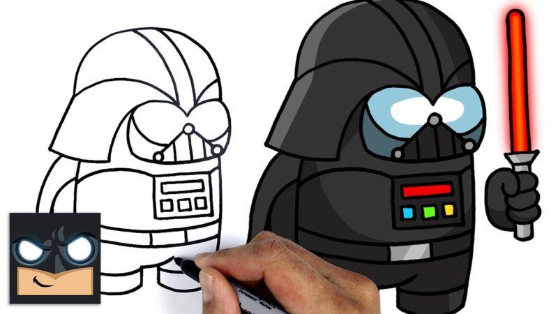 Come disegnare Among Us | Darth Vader Imposter Tutorial di disegno passo dopo passo