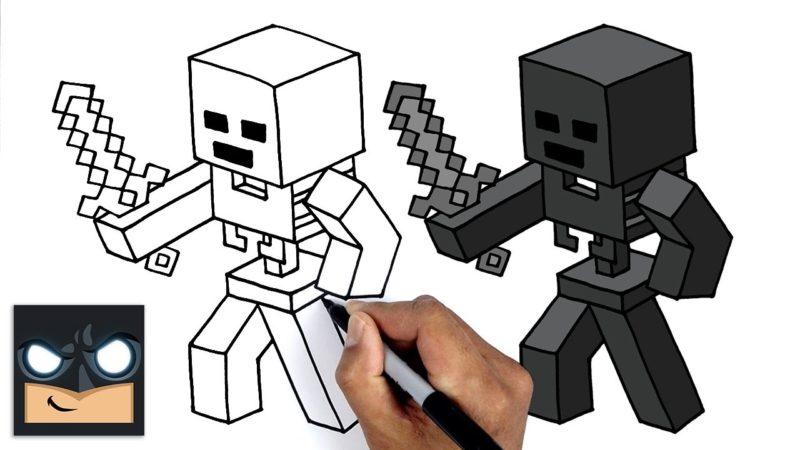 Come disegnare MINECRAFT | Esercitazione di disegno passo dopo passo dello scheletro di Wither