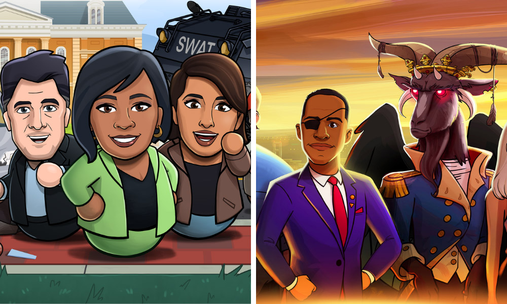 Fairview e Washingtonia, i cartoni animati di satira politica