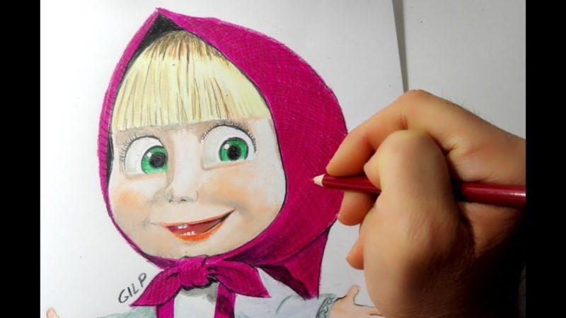 Come disegnare e colorare Masha di Masha e Orso