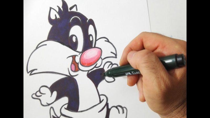 Come disegnare baby gatto Silvestro dei Baby Looney Tunes