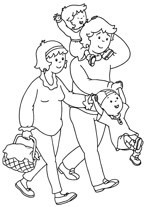 ausmalbilder caillou mit seiner familie