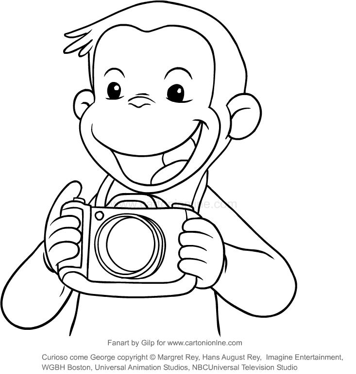 ausmalbilder coco fotograf coco der neugierige affe
