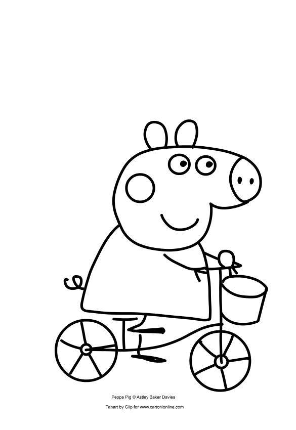ausmalbilder peppa pig auf dem fahrrad