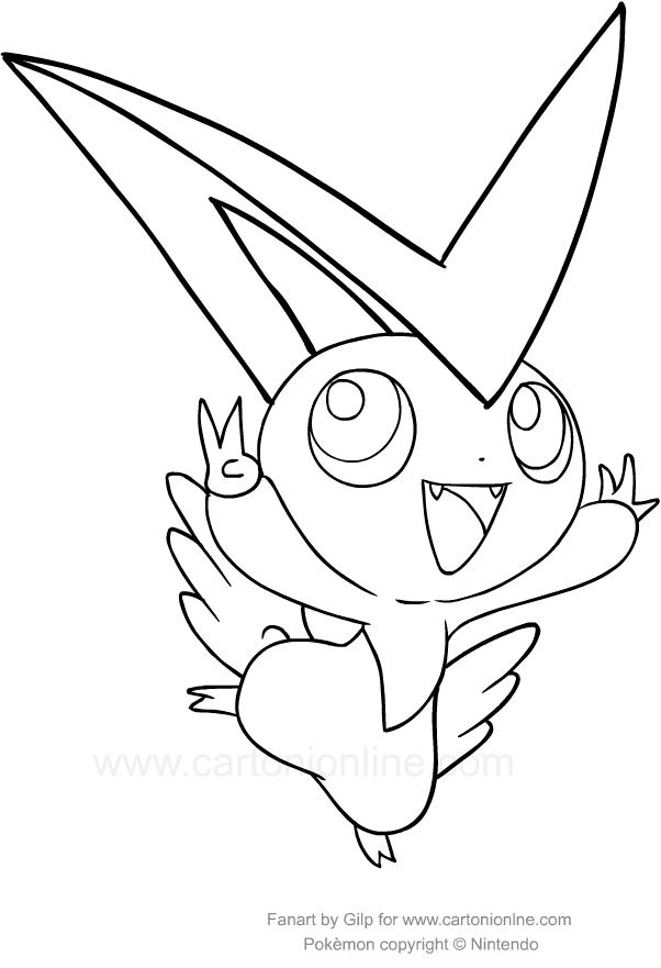 ausmalbilder victini des pokemon